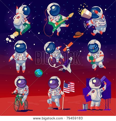 Постер, плакат: Set Of Cute Astronauts In Space, холст на подрамнике