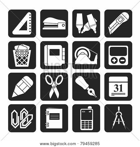 Silhouette Business and office objects icons