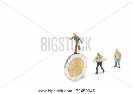 businessman on coins finance concept