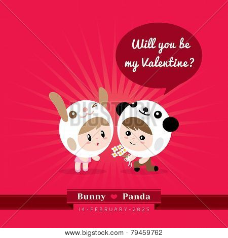 Cute Kawaii Characters With Valentine's Concept Illustration