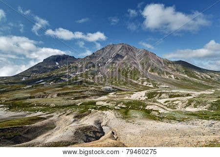 Beautiful summer view of Khangar Volcano - active volcano of Kamchatka Peninsula