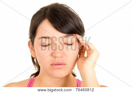 young beautiful woman with headache