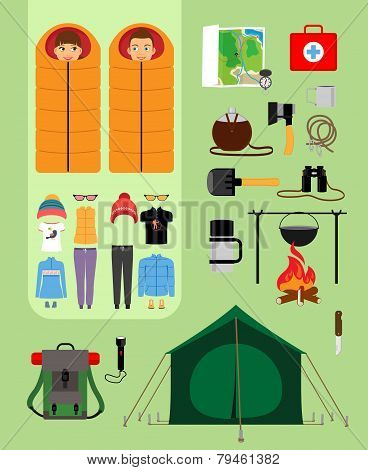 Camping concept. Boy and girl in sleeping bags next to tent with campfire.
