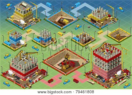 Isometric Building Construction Mega Set