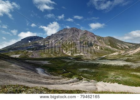 Summer view of Khangar Volcano - active volcano of Kamchatka