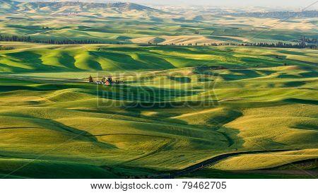 Red Barn In Beautiful Crop Fields
