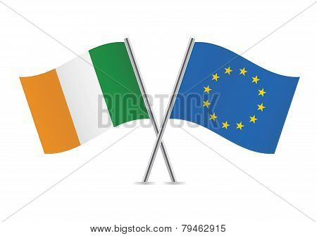European Union and Irish flags. Vector illustration.