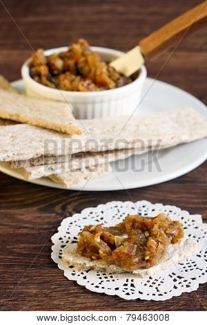 Crisps And Eggplant Dip