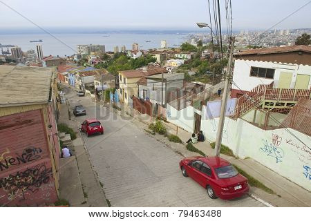View to Valparaiso harbor from a residential area, Valparaiso, Chile.