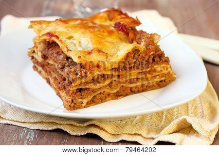 Piece Of Homemade Lasagna