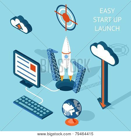 Cartooned Easy Start-up Launch Infographic Design