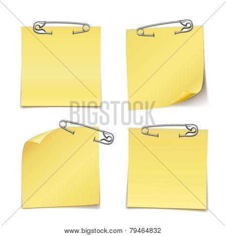 Blank Sticky Notes with Safety Pin on White