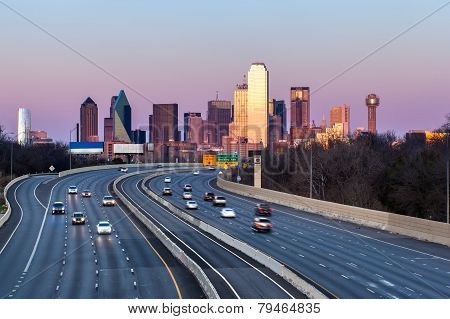 Dallas downtown skyline in the evening, Texas