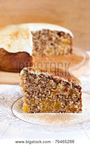 Slice Of Wholewheat Apricot Cinnamon Cake
