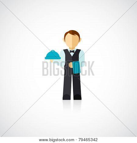 Waiter Man Icon Flat