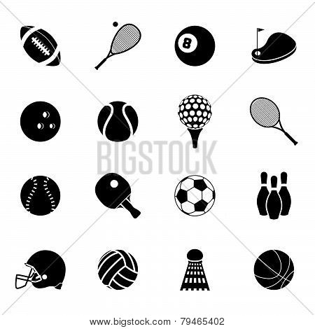 Sport icons set black