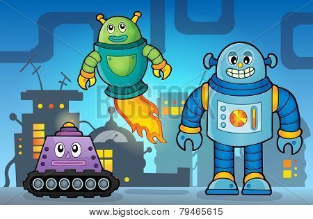Robot theme image 5 - eps10 vector illustration.