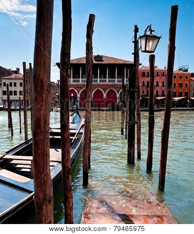 Parking Place For Gondolas In Venice On Grand Canal, Italy