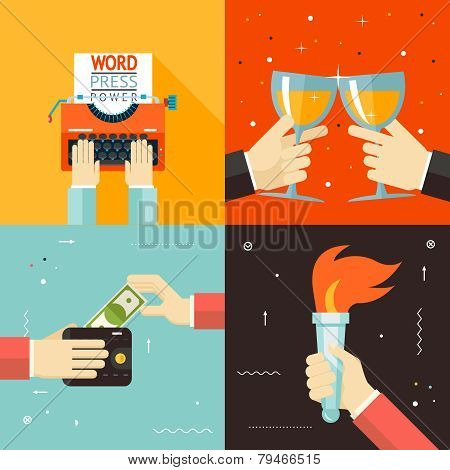 Wallet Payment Word Power Mass Media Victory Celebration Success Hands Icon on Stylish Background Mo