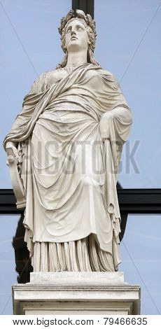 VIENNA, AUSTRIA - OCTOBER 10: Statue on facade of Musikverein Vienna in Vienna, Austria on October 10, 2014
