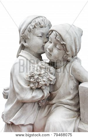 Statue Of Boy Hold Flower And Kiss The Girl ( Puppy Love )