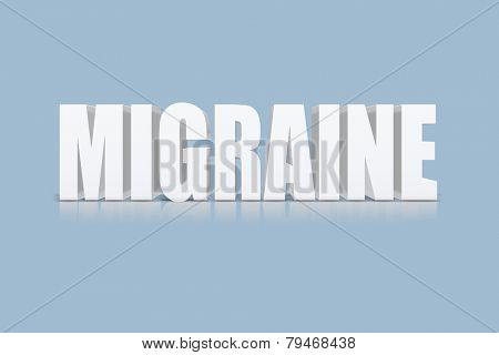 3D text with shadow and reflection, migraine.