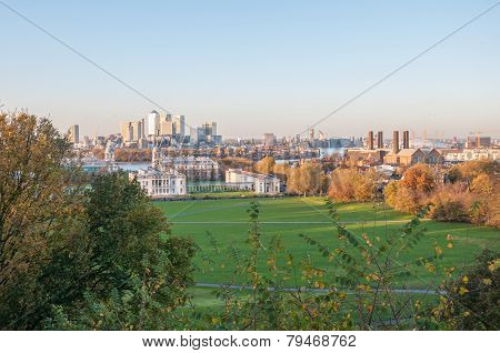 Skyline Of London. View From Greenwich Hill.