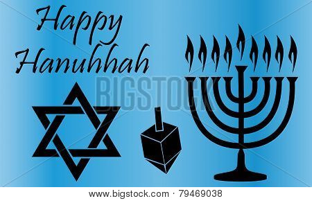 Black Hanukkah Symbols Over A Blue Background