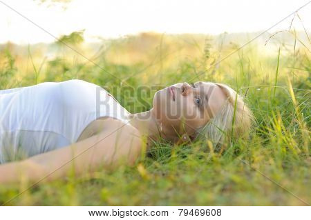 calm woman resting in the park