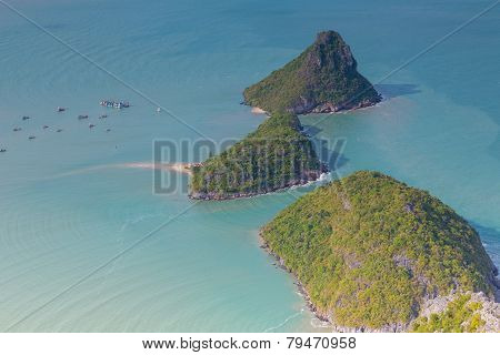 Aerial view of tropical island locate in south of Thailand