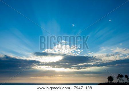 Lighting beam through the cloud in Laguna beach, California