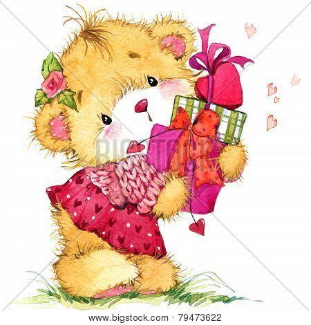 Valentine Day. Teddy Mishka.fon For Congratulation Festive Decorations. Watercolor Illustration