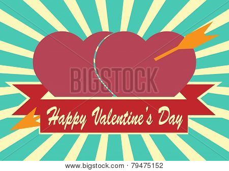 Red Heart With Arrow And  Ribbon On Sunrays Illustration With Valentine's Day