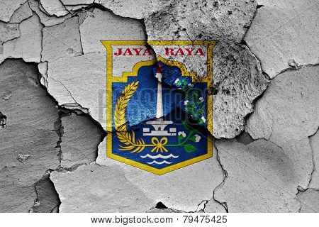 Flag Of Jakarta Painted On Cracked Wall