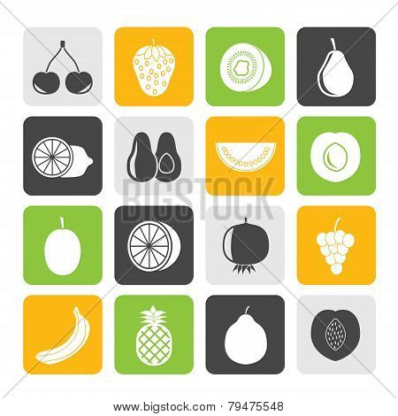 Silhouette Different kind of fruit icons