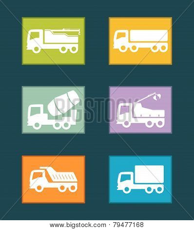 set colorful industrial transport icon