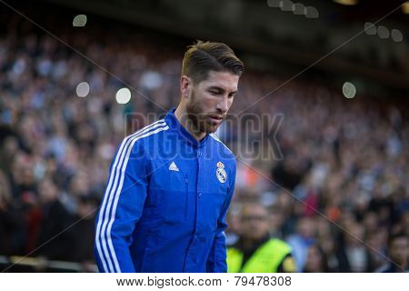 VALENCIA, SPAIN - JANUARY 4: Ramos during Spanish League match between Valencia CF and Real Madrid at Mestalla Stadium on January 4, 2015 in Valencia, Spain