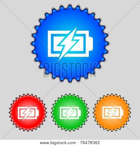 Battery Charging Sign Icon. Lightning Symbol. Set Of Colour Buttons. Modern Interface Website Button