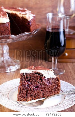 Chocolate, Red Wine And Cherry Cake