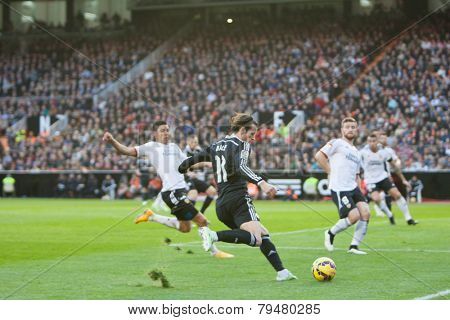 VALENCIA, SPAIN - JANUARY 4: Bale (11) during Spanish League match between Valencia CF and Real Madrid at Mestalla Stadium on January 4, 2015 in Valencia, Spain