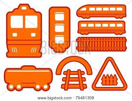 yellow rail road icons set