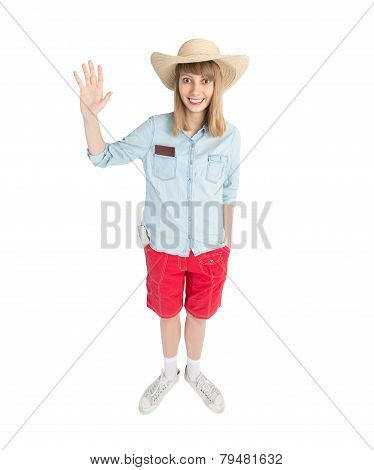 Funny Girl Tourist In Straw Hat In Red Shorts.