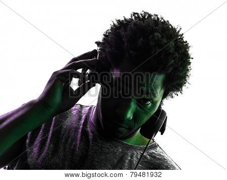 one disc jockey man portrait in silhouette on white background