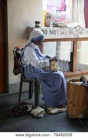 KOLKATA, INDIA - JANUARY 24: Sister of Missionaries of Charity classified the goods they have received from charitable organizations in Kolkata, India on January 24, 2009.