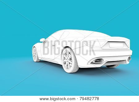 Back Toon White Car