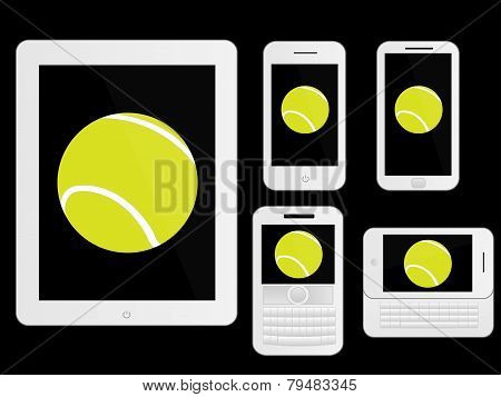 Mobile Devices With Tennis Ball White