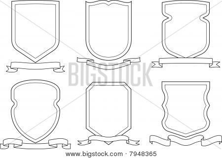 Set of vector coats of arms and ribbons