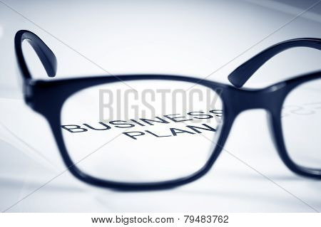 Business Plan Words See Through Glasses Lens, Business Concept