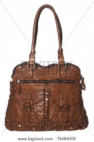 Brown Leather Bag isolated on white background