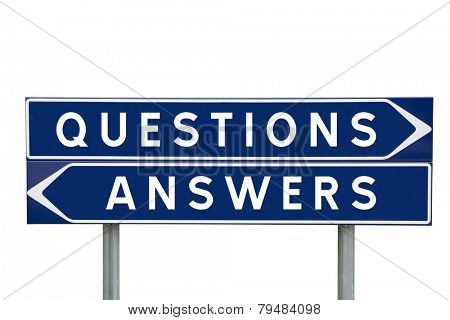 Questions or Answers choise on Road Signs isolated